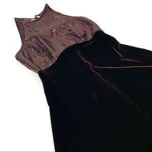 Vintage 1990s brown velvet mini dress XS